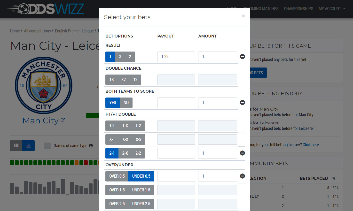 Bet tracker interface